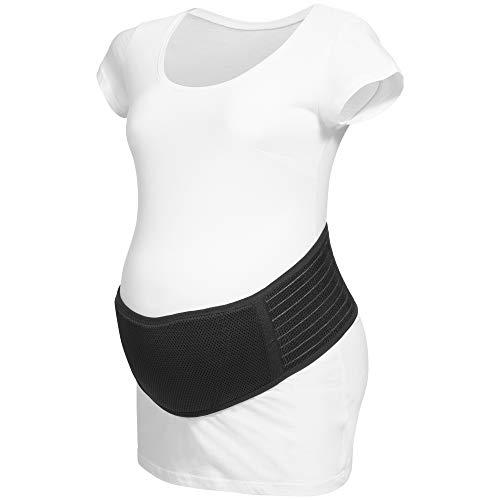 Herzmutter Bauchgurt Schwangerschaft - größenverstellbarer Schwangerschaftsgurt - Bauchgurt-Schwangerschafts-Stützgürtel-Bauchband - Gymnastik-Yoga-Sport - Beige-Schwarz - 3400 (S/M, Schwarz)