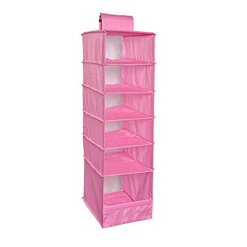 Ogquaton Oxford Tuch Lagerung Hängende Tasche Kleidung Veranstalter 6 Regal Lagerung Hängende Regale für Schrank Verwenden 1 STÜCKE Rosa