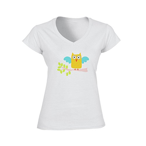Owl Bird Night Midnighter Green Yellow Blue Damen V-Neck T-Shirt Weiß