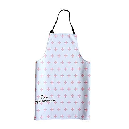 LF 100% algodón Delantal Correa de Cabestro Ajustable, Cocina Delantal de Cocina, señoras Chef de los Hombres, Serie Blanca + Rosa Delantal