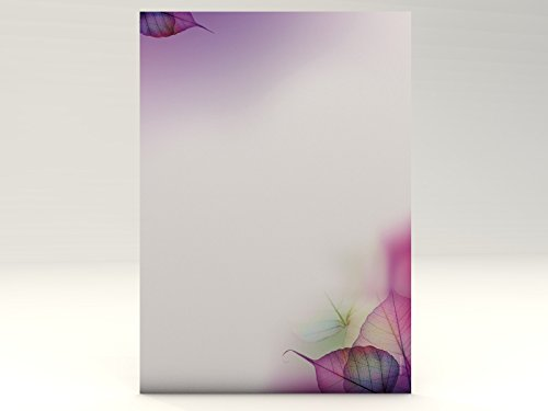 paperandpicture Magic Leaves - Papel de carta decorado (20 hojas, A4, 100 g/m², gran calidad)