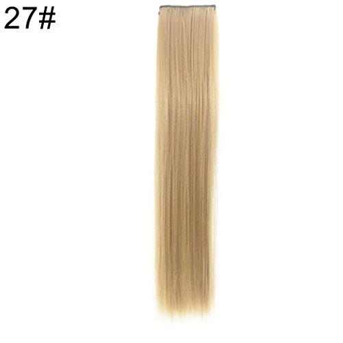 Postiche queue de cheval 2 clips à clipser extension Cheveux longs lisse chaleur Cosplay Perruque fête cadeau 29,53 pouce (55 cm)