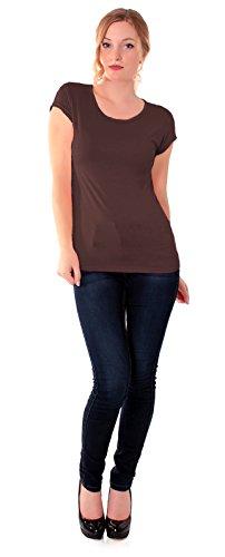 Easy Young Fashion Damen Basic T-Shirt Rundhals Slim Fit Einfarbig Schoko