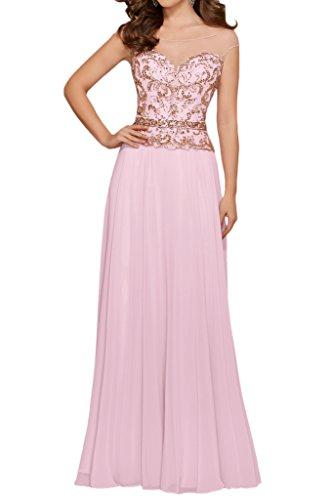 Milano Bride Glitzer Lang Chiffon Abendkleider Festkleider Ballkleider Brautmutterkleider mit Perlenstickerei Rosa