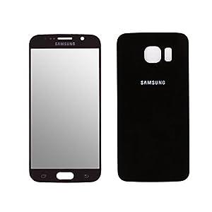 Frontglas Frontscheibe Display Ersatzglas Glas und Akkufachdeckel Backcover für Samsung Galaxy S6 Schwarz