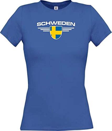 Lady T-Shirt Schweden, Wappen mit Wunschnamen und Wunschnummer Land, Länder, royal, L