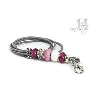 Exclusives Pfeifenband aus Echtleder 45 – hellgrau/pink