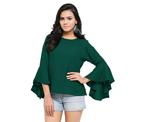 Serein Women's Top (Green top with Flute Sleeves) (Large)