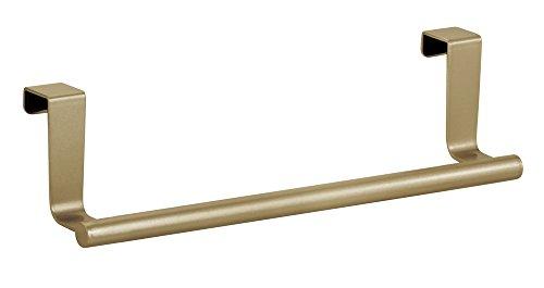 InterDesign Forma Colgador de Toallas con una Barra | Toallero de baño y Cocina para Puertas | Toalleros sin Tornillos | Metal Dorado/latón