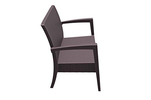 CLP 2er Rattan Garten Lounge-Sofa MIAMI V2, Vollkunststoff in Rattan-Optik, ca. 130 x 80 cm, mit Sitzkissen, stapelbare Sitzbank Braun - 3