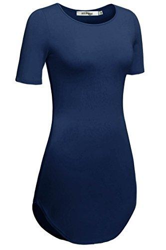 cooshional Damen Lang Tunika Kurzarm Kleid Longshirt Herbst Bluse Sexy Minikleid O-Ausschnitt Stretch T-Shirt 32-46, Dunkelblau, - T-shirt-kleid Mit Schlitzen