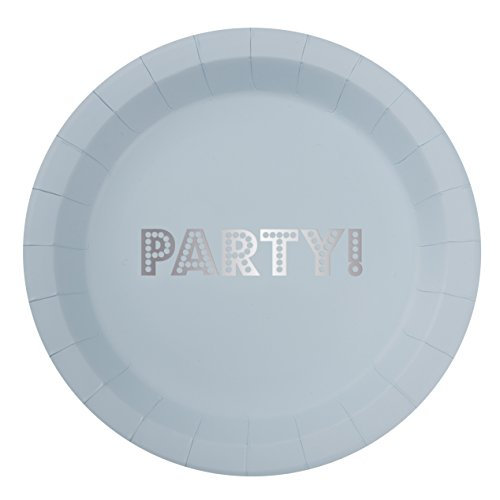 Ginger Ray Pastell Blau Silber Vereitelt Party Papier Teller x 8?Pastell Perfektion