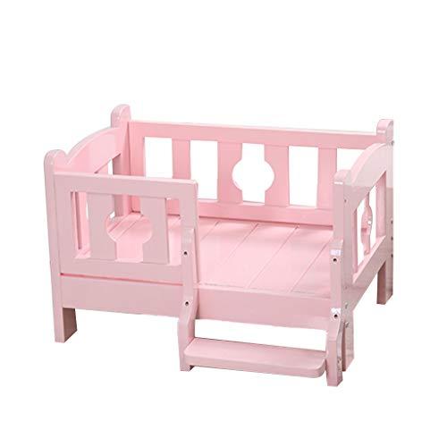 YANQ Log Pet Bett Hund Holz Bett Pet Holz Bett Hundehütte Pink Hundebett Teddy Goldenes Haar Massivholz Pet Bett (Farbe : Rosa, größe : 100 * 65cm) -