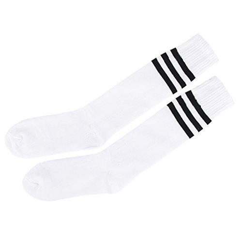 Alt Schule Knie hoch sportlich Sport Rohr Socke (Schwarz auf Weiß) (Knie-hohe Sport-socken)