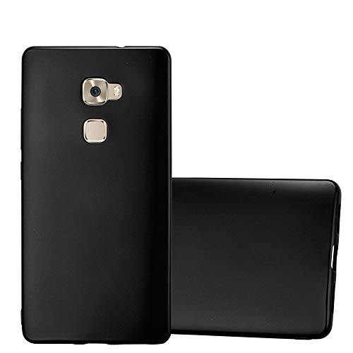 Cadorabo Hülle für Huawei Mate S - Hülle in METALLIC SCHWARZ - Handyhülle aus TPU Silikon im Matt Metallic Design - Silikonhülle Schutzhülle Ultra Slim Soft Back Cover Case Bumper