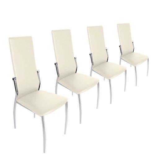 Miadomodo – Conjunto de 4 sillas de comedor de cuero artificial -...
