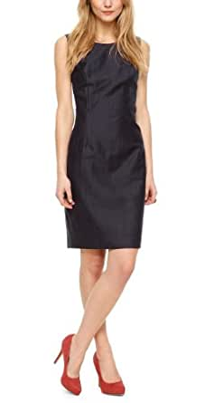 s.Oliver BLACK LABEL Damen Etui Kleid 11.404.82.8410, Knielang, Gestreift, Gr. 46, Blau