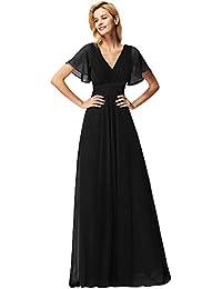 bc06ee48f Ever-Pretty Vestido de Fiesta Noche Largo Mangas Cortas Cuello en V Gasa  Mujer 09890