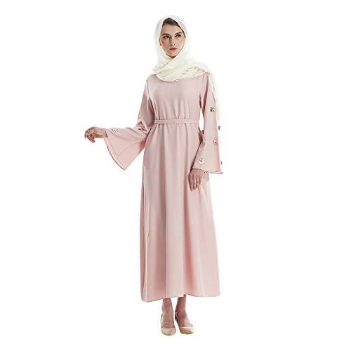 Hot Kostüm Robin - QinMM M-Muslim Blume Pailletten Hot Diamonds Sweet Dress - Islamisches Dubai Abendkleid Robin Abaya Offizielles Brautkleid Elegante Sommermode Rosa M-XXL