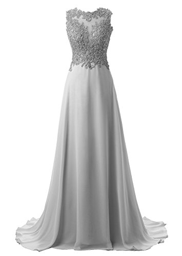 Callmelady Abendkleider Lang Spitze Elegant Ballkleider Damen Abiballkleid Cocktailkleid (Silber Grau, EU32)