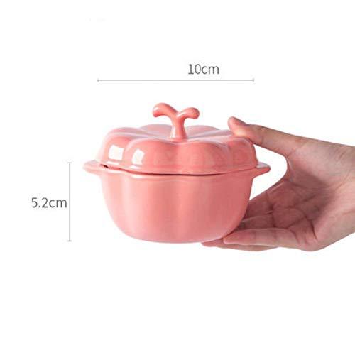 Korean style lovely ceramic bowl dessert pudding baking bowl pumpkin shape snack bowl with lid home Macaron,pink