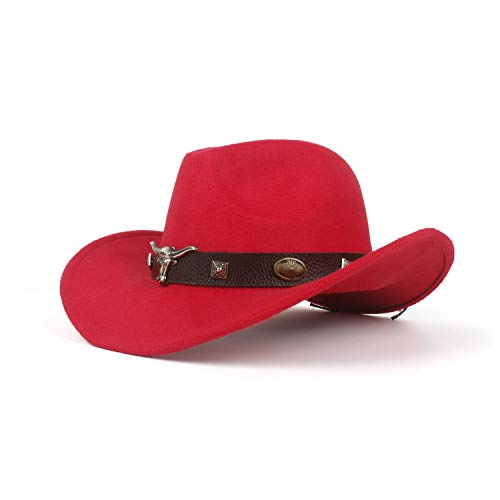 YIBANG-hat Unisex: Frauen, Männer, Hondo-Kuh-Fedora-Kopfgürtel, Wolle, Western-Cowboy-Hut, leicht, atmungsaktiv (Farbe : Rot, Größe : 56-59cm)