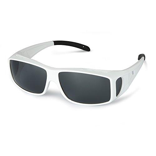 LVIOE Unisex Polarisiert Sonnenbrille Brille Überbrille für Brillenträger, Fit-over Polbrille für Herren und Damen 100% UVA UVB Schutz (Weiß/Grau)