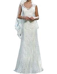 JAEDEN Vestido de Novia Vestido de Boda Mujer Sirena Largo Encaje V-Cuello Vestido de