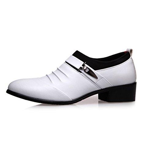 Derby Business Chelsea Chaussures Hommes Mocassins en Microfibre Pointu Bloc Talon Loisir Soulier Blanc
