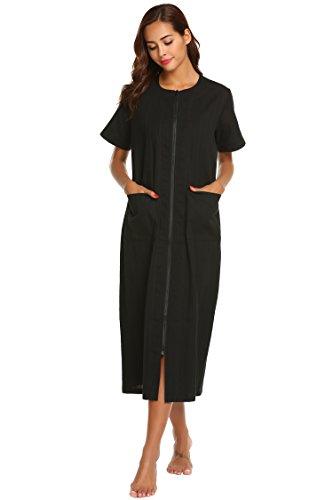 Imposes Damen Schlafhemd Kurzarm Nachthemd Lang Nachtshirt Sommer Hauskleider Lockeres Kleid Sleepshirt mit Taschen Schwarz Blau Violett - Nachthemden Reißverschluss Mit Für Damen