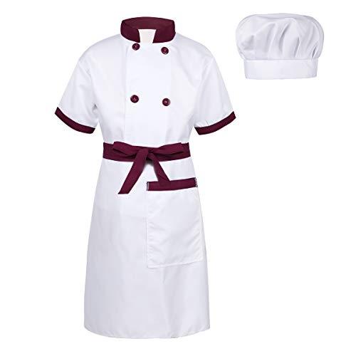 Freebily Unisex Kinderkostüm Koch Kostüm Chef Outfit Jungen Mädchen Kurzarm Jacke + Schürze + Mütze Set für Halloween Cosplay Kostüm Burgundy&Weiß - Koch Schürze Kostüm