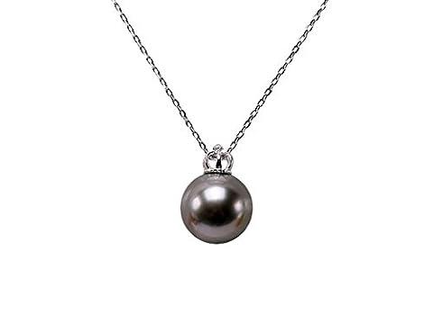 Jyx Sterling Rouleau 13mm Noir perle de Tahiti ronde Pendentif Collier