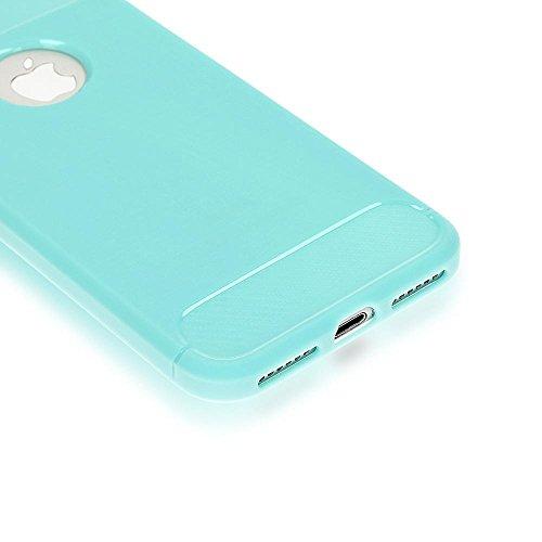 iPhone 8 / 7 Hülle Handyhülle von NICA, Ultra Slim Silikon Case Cover, Dünne Crystal Phone Schutzhülle, Etui Handy-Tasche Back-Cover Bumper, TPU Gummihülle für Apple i-Phone 7 / 8, Farbe:Schwarz Mintgrün