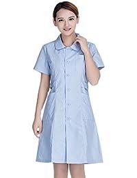 ESENHUANG Mujeres Enfermera Uniforme De Manga Corta Ropa Médica Bata De Laboratorio Traje De Trabajo Vestido Ropa De Hospital…