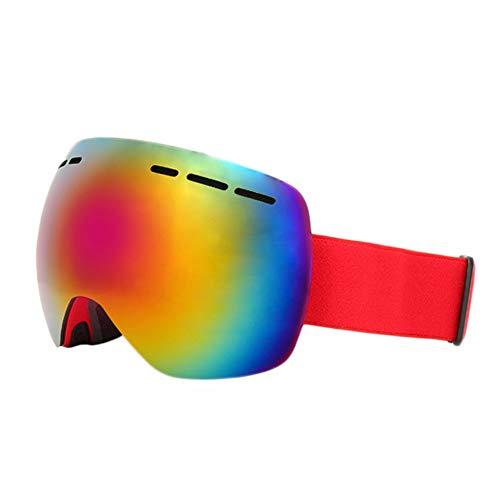 KUDYN 2019 Double Lens Sphärische UV400 Anti-Fog-Skibrille mit Schutzhülle Snow Sun Glasses Skiing Men Women,Red