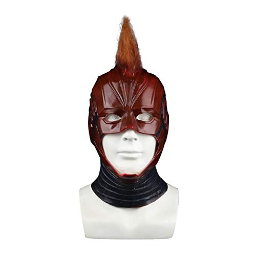 QWEASZER Captain Marvel Maske mit Perücke Haar Erwachsene Frauen Cosplay Marvel Avengers Superheld Latex Masken Helme Halloween Film Kostüm Requisiten,Captain Marvel-OneSize (Avenger Kostüm Frauen)