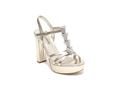 Luciano Barachini scarpa donna, modello sandalo gioiello 6258, in pelle, colore platino