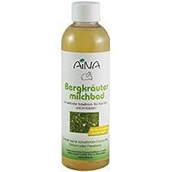 AINA Bergkräutermilchbad 200 ml Flasche - Badezusatz mit BIO Schafmilch und 24 Kräutern - für lange und sanfte Schaumbäder