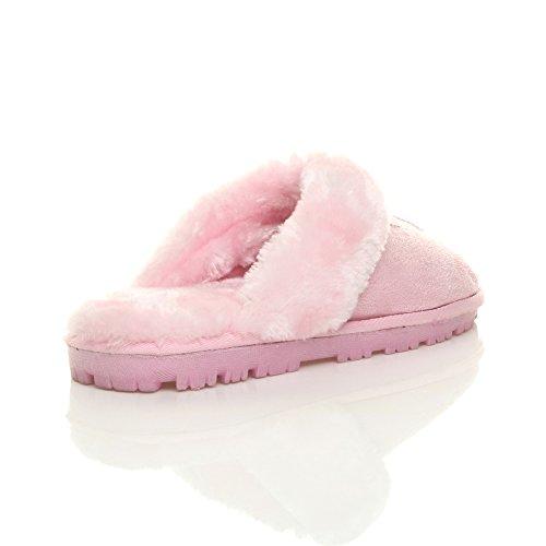 Herren Luxuriös Warm Winter Pelz Gefüttert Gemütlich Geschenk Hausschuhe Pantoffeln Größe Rosa