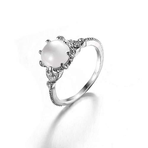 MOONQING Vintage Opal Ring Damen Mondstein Ringe Faux Edelstein Tiny Band Ring, Größe 5 (Opal Größe 5 Ring)