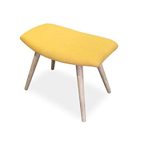 WYYY Bürostuhl Fußhocker Polsterhocker Holz Ottomane Sitzhocker Polster- Sofa Hocker Wohnzimmer 58 × 26 × 46 cm Durable stark (Color : Yellow) -