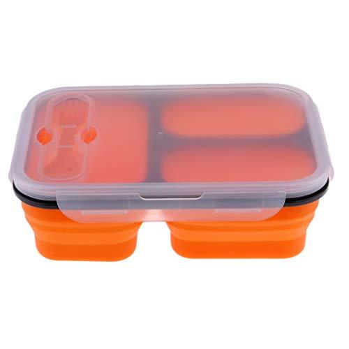 FLAMEER Bento Box Brotzeitbox Kinder auslaufsicher Brotzeitdose Kinder mit Trennwand für Kinder und Erwachsene - 3 Grid Orange