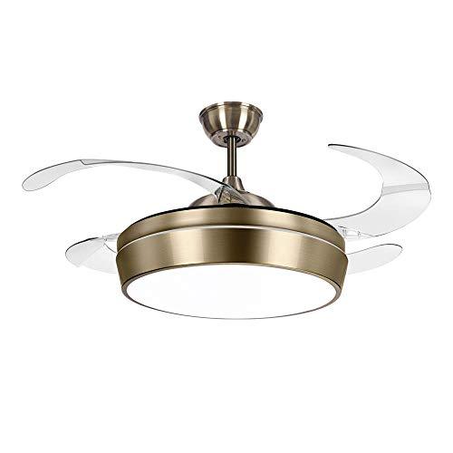 TODOLAMPARA - Ventilador de techo con luz LED modelo SIMUN color cuero/bronce con aspas retráctiles...