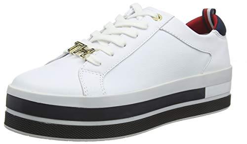 Tommy hilfiger th hardware flatform sneaker, scarpe da ginnastica basse donna, bianco (white 100), 39 eu