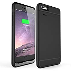 iPhone 6 Plus Battery Case, Rhidon 4500 mAh Power Bank Case Rechargeable Protective Battery Charging Case for Apple iPhone 6S Plus (5.5 inch) (Black)