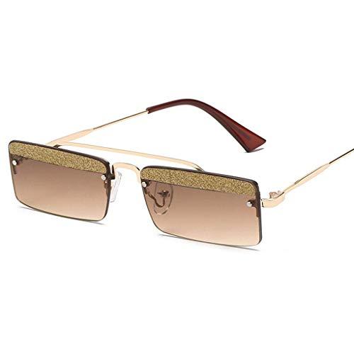 MWPO Retro Square Women 's Catwalk Personality Brille mit glänzenden kleinen Bohrer Stück polarisierten Gläsern (Farbe: Gold Frame braune Linse)