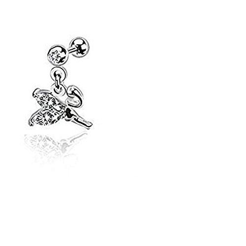 Fliegen Petite Fee mit klarem Kristall Flügel baumeln Tragus oder Cartilage Piercing Stärke: 1,2 mm Länge: 6 mm Material: Chirurgenstahl (Männliche Kostüm Fee)