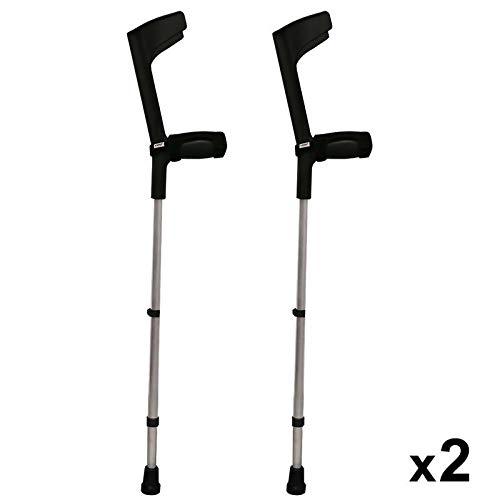 KMINA - Gehhilfe Krücken KMINA COMFORT BASIC, Gehilfen Krücken für Senioren mit gepolsterten Bezügen,Verstellbare Aluminium Krucken mit gepolstertem Griff, Doppelset -