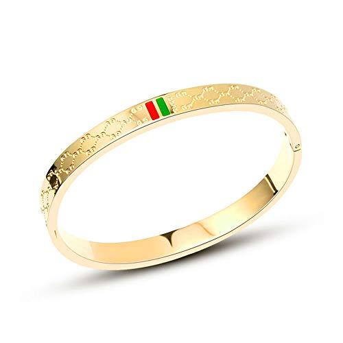 KRMZB 18 Karat Roségold Armband Korea Paar Armbänder Männer und Frauen Modelle Doppelschrift Titan Stahl Schmuck, Gold männlich
