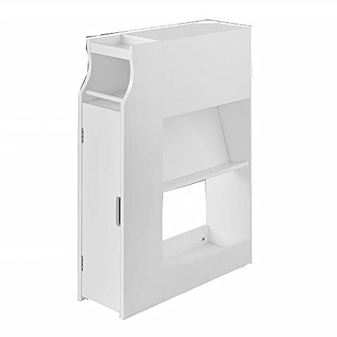 SoBuy® FRG52-W Meuble de rangement Armoire WC pour papier toilette, Porte brosse WC avec porte-revues –Blanc